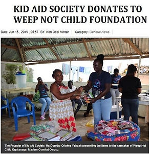 KID AID SOCIETY DONATES