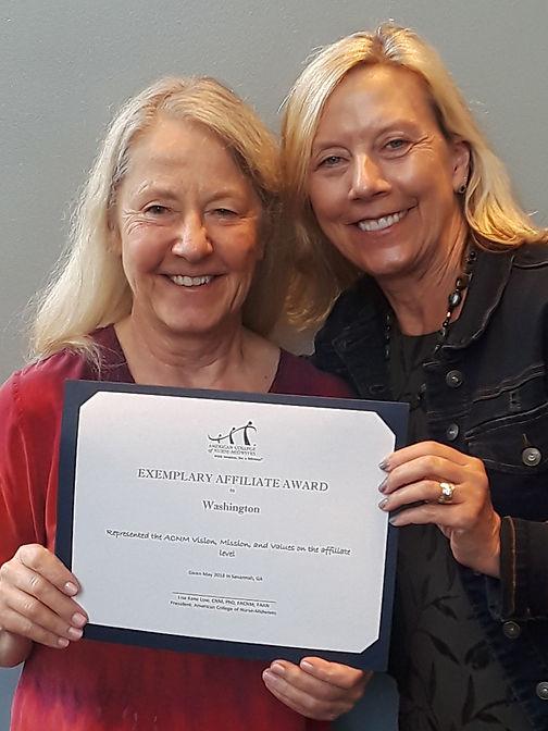 WA Exemplary Affiliate Award ACNM 2018 .