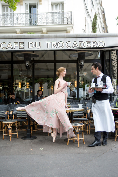 ballerina at a French cafe