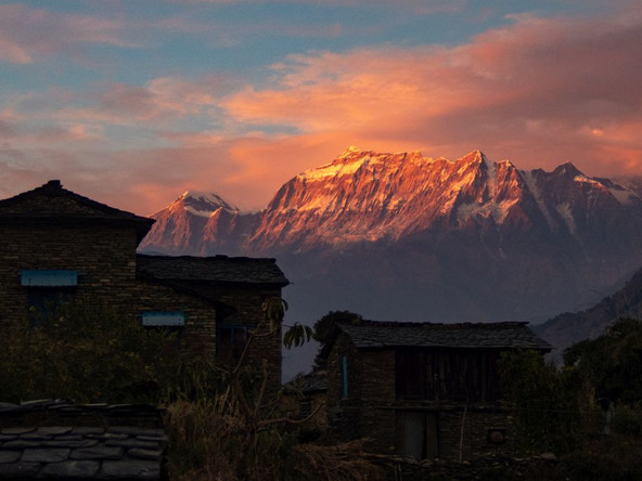 New Year's Eve 2017 sunset - Dharapani - Myagdi District