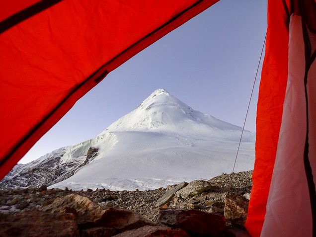 Early morning view of Pachermo Peak from my tent - near tashi Labsta Pass - Gaurishankar Conservation Area - Dolakha District
