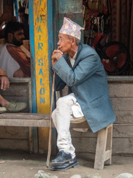 In front of the hair saloon - Dobhan - Taplejung District