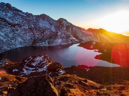 Sunset over Bhairabkunda Lake - Langtang National Park - Rasuwa district
