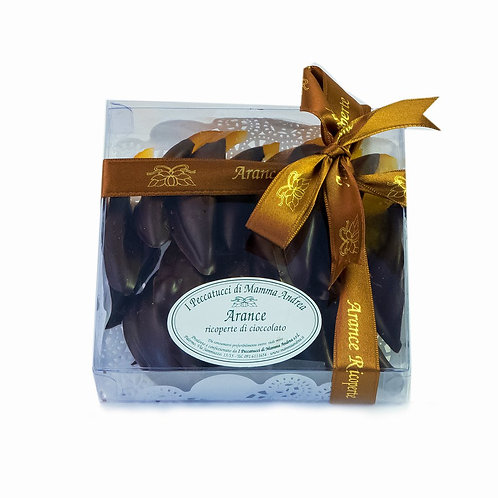 Arance ricoperte di cioccolato fondente 200 gr.