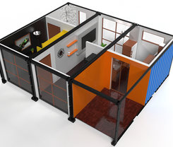 """Container Office - 3x20"""" Site Office 3D Proposal"""