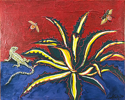 Agave and Leopard Lizard