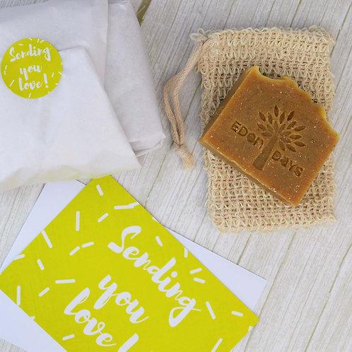 'Sending You Love' Gift Sets - Natural Soap & Soap Bag