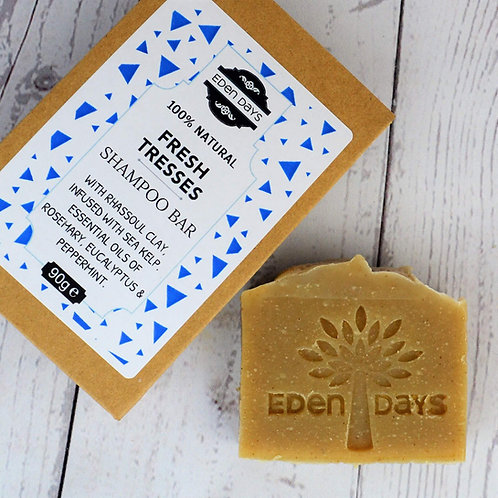 Fresh Tresses Zero Waste 100% Natural Shampoo Bar with Rosemary, Eucalyptus & Peppermint - Eden Days Body