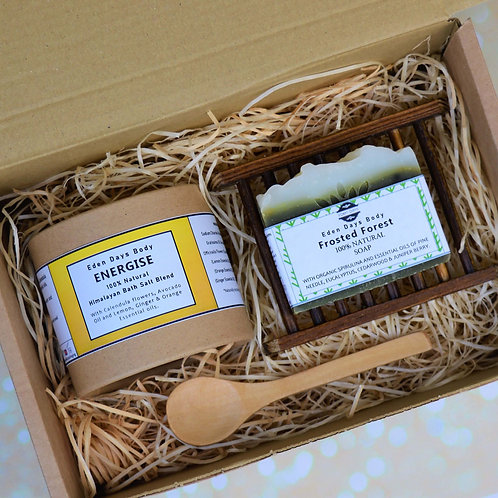 Seasonal Energise Bath Salts and Frosted Forest Soap