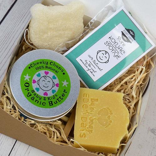 Cheeky Chops Organic Baby Pamper Set with Konjac