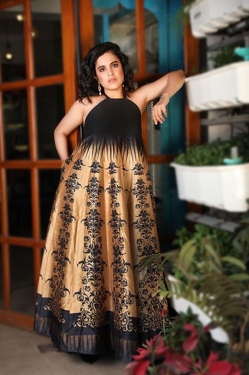 Tangerine Hue Backless Flare Dress