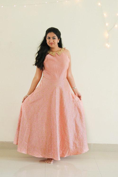 Anarkali peach dress