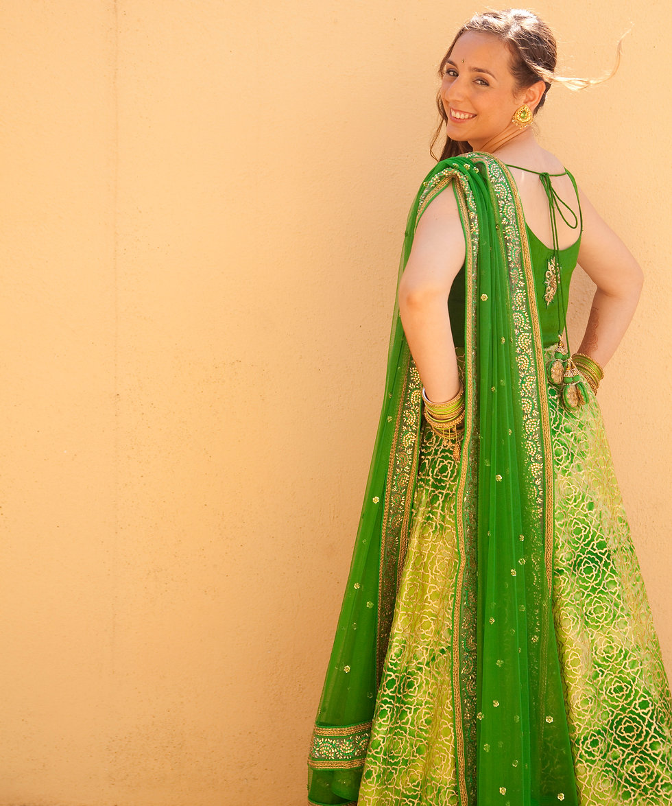 INDIAN BRIDAL COUTURE, indian green bridal dress