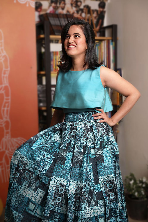 Turquoise Blue Contemporary Box Pleat Skirt & Crop Top