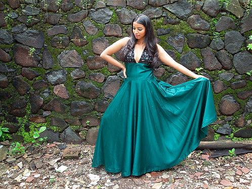 Bottle green silk gown
