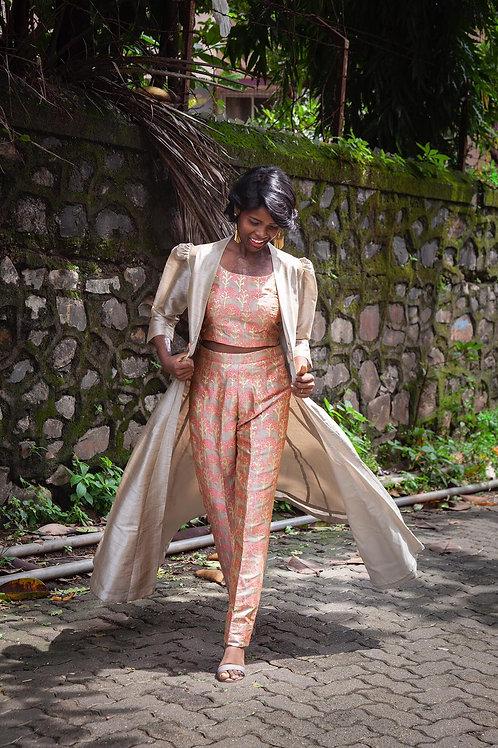 Chanderi glossy print crop top with slim fit pants and jacket