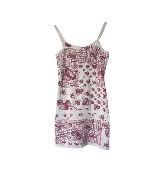 CHRISTIAN DIOR GIRLY PINK MONOGRAM FLOWER PRINT BODYCON DRESS