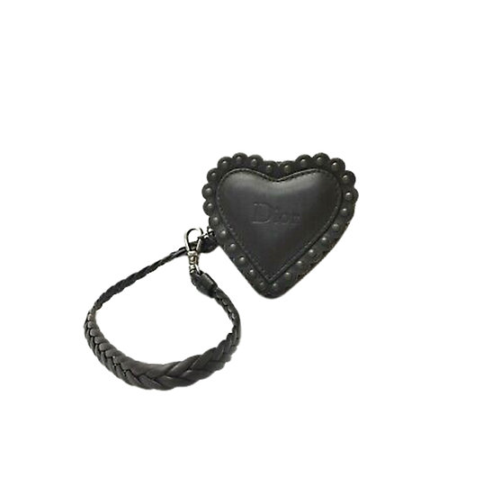 CHRISTIAN DIOR BLACK LEATHER MINI HEART POUCH