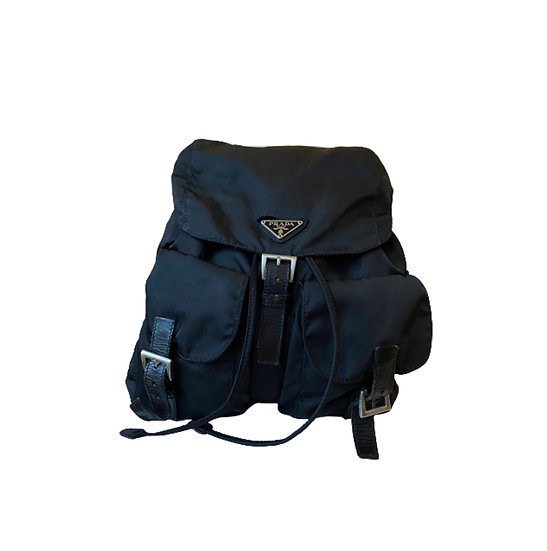 PRADA BLACK NYLON DOUBLE BUCKLE POCKET BACKPACK WITH LEATHER TRIM