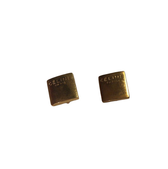 CÉLINE GOLD SQUARE CLIP-ON EARRINGS