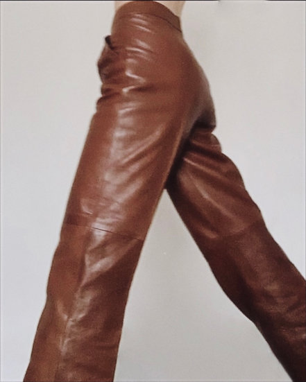 CÉLINE BROWN LEATHER TROUSERS