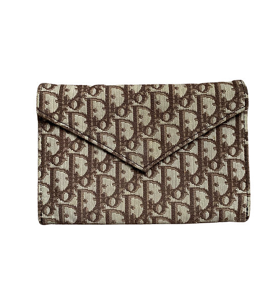 CHRISTIAN DIOR BROWN TROTTER ENVELOPE CLUTCH