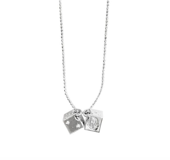 CHRISTIAN DIOR SILVER DICE CHARM NECKLACE
