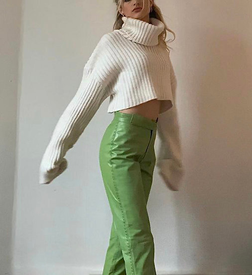 LEATHER TROUSERS IN VERT POMME