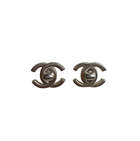 CHANEL CC SILVER TONE CLIP EARRINGS