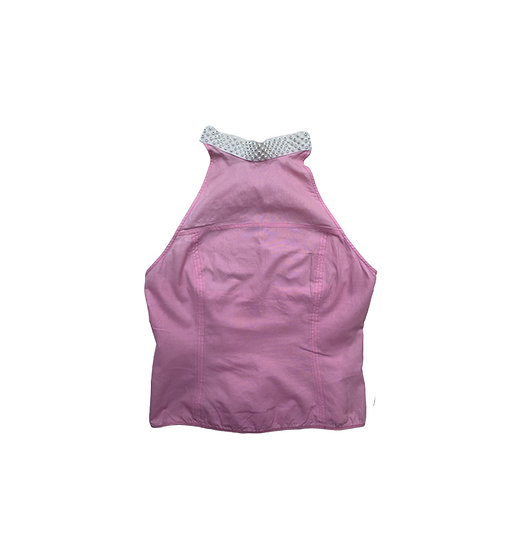 MIU MIU PINK BACKLESS TOP WITH CRYSTAL DETAIL COLLAR