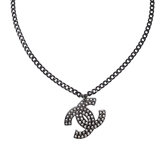 CHANEL CC LOGO CHARM SILVER CHAIN PENDANT NECKLACE