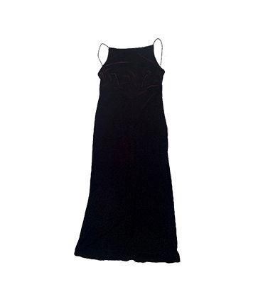 90s BURGUNDY VELVET SPAGHETTI STRAP BACKLESS DRESS