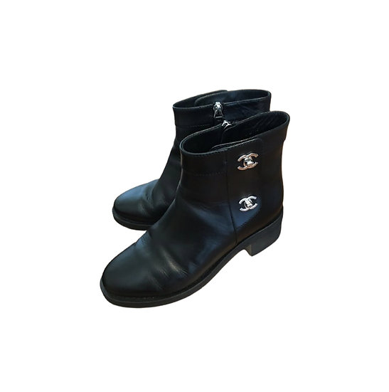 CHANEL CC TURNLOCK LEATHER ANKLE BOOTS