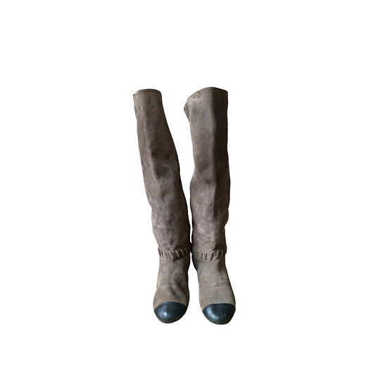 CHANEL SUEDE RIDING BOOTS