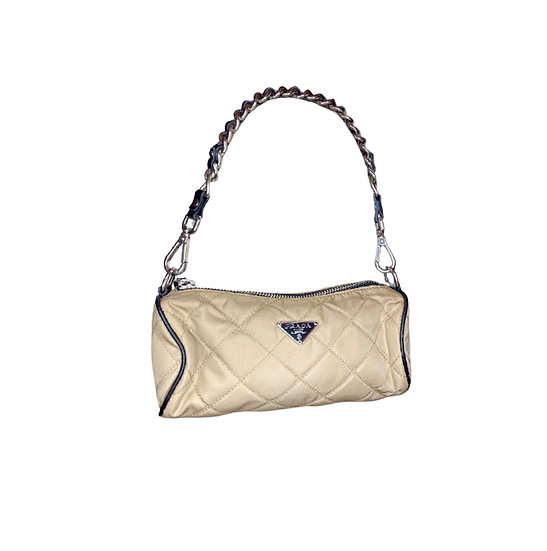 PRADA QUILTED NYLON TESSUTO BARREL BAG
