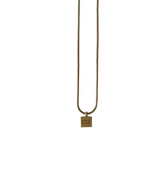 CHRISTIAN DIOR GOLD CD CUBE NECKLACE