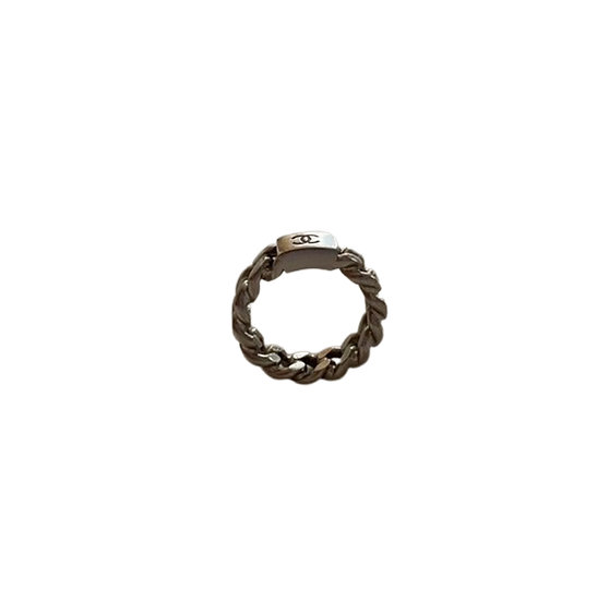 CHANEL CC LOGO SILVER CHAIN RING