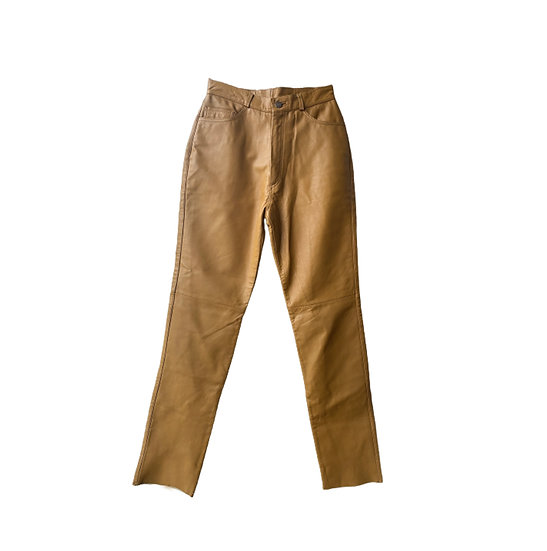 STRAIGHT CUT LEATHER TROUSERS IN LIGHT TOBACCO