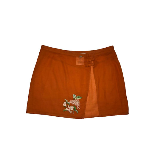 CHRISTIAN DIOR ORANGE SUMMER SKIRT WITH FLOWER EMBROIDERY