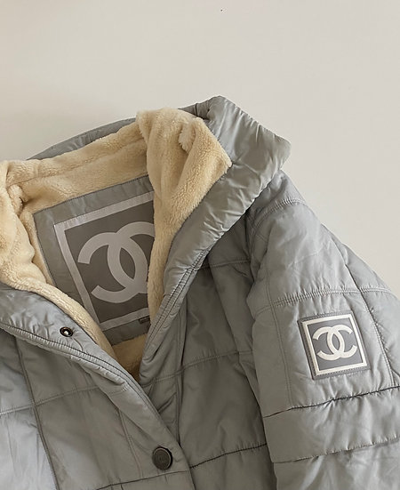 CHANEL SPORTS CC LOGO SQUARE QUILTED PUFFER COAT