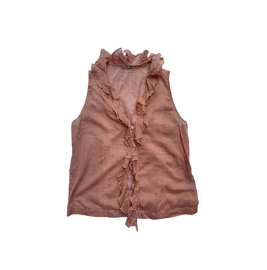 MIU MIU SLEEVELESS RUFFLE TOP