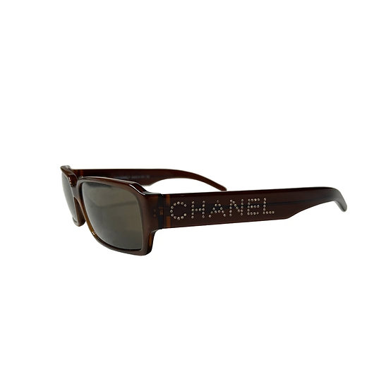 CHANEL RHINESTONE LOGO BROWN RECTANGLE FRAME SUNGLASSES