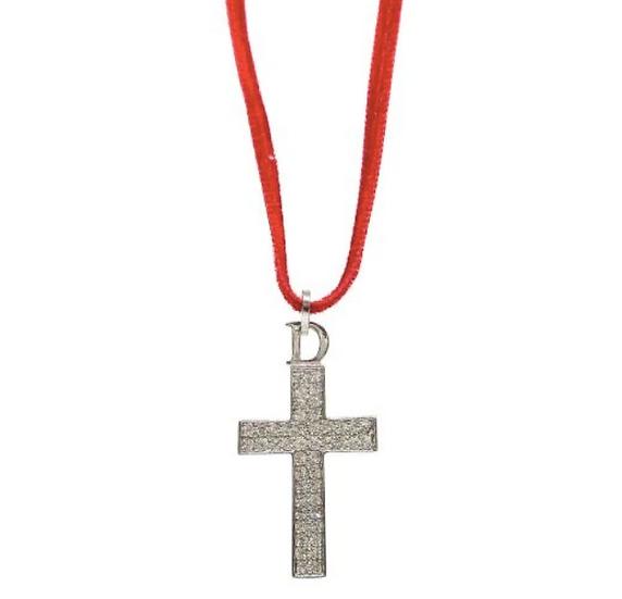 CHRISTIAN DIOR RHINESTONE CROSS NECKLACE