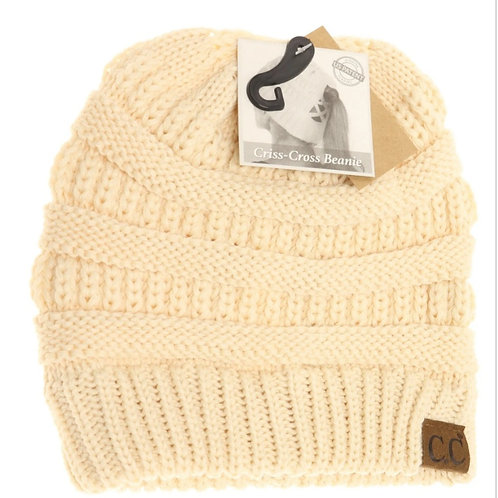 ALMOND OIL COLORED CRISS CROSS PONY CC BEANIE #291