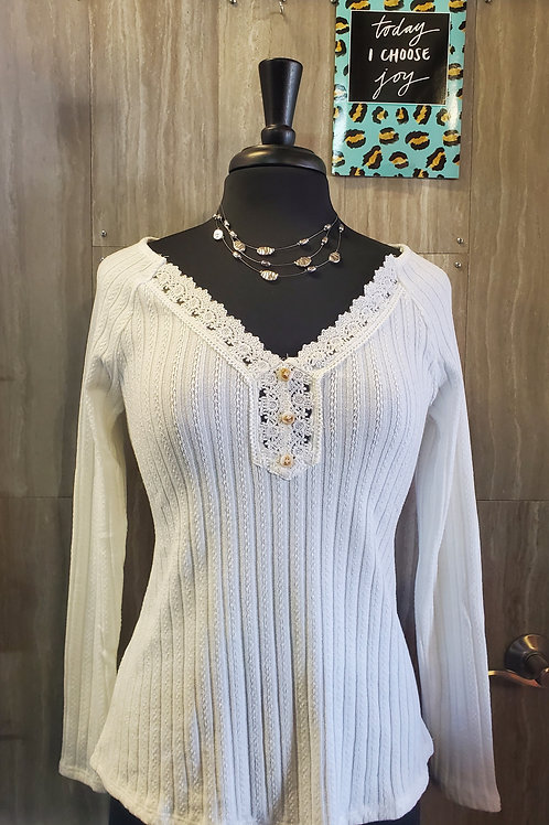 WHITE RIBBED LONG SLEEVE TOP WITH LACE NECKLINE #566