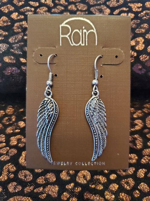 RAIN JEWELRY ANTIQUE SILVER ANGELE WING EARRINGS #374