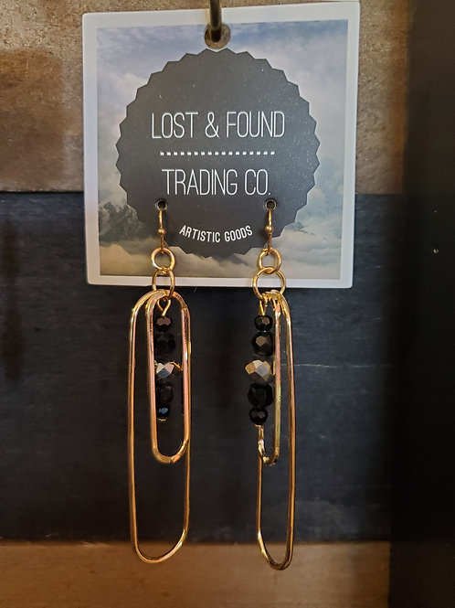 "3"" GOLD EARRINGS BY LOST & FOUND TRADING CO #041"