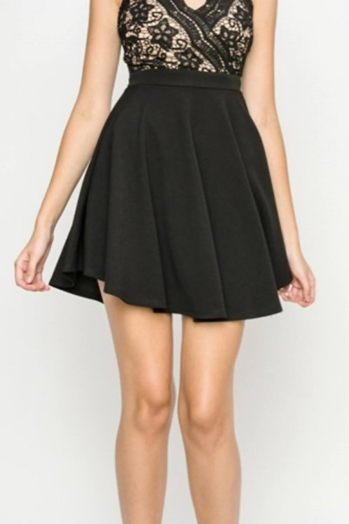 SEMI-FORMAL BLACK DRESS WITH LACE BODICE DETAIL FULLY LINED #059