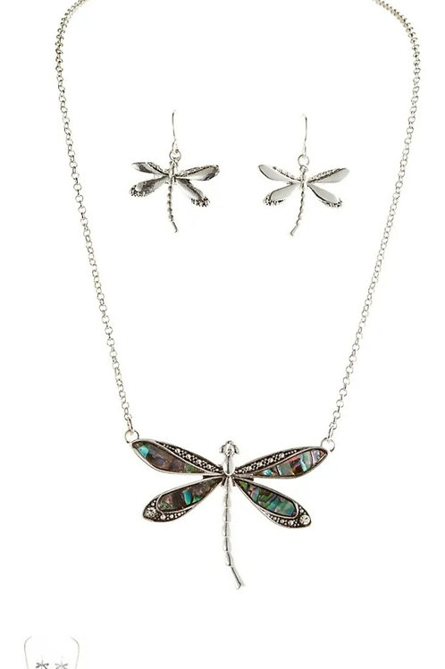 RAIN JEWELRY ABALONE DRAGONFLY SHORT NECKLACE SET #607