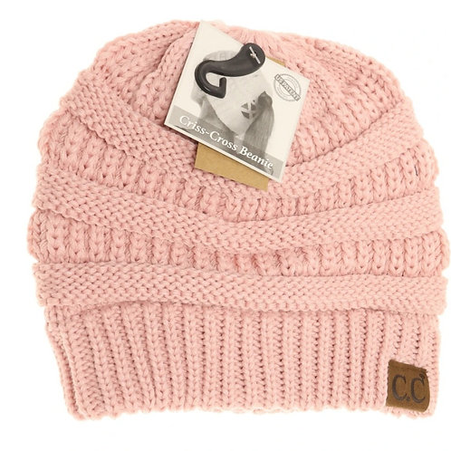 LIGHT ROSE COLORED CRISS CROSS PONY CC BEANIE #284
